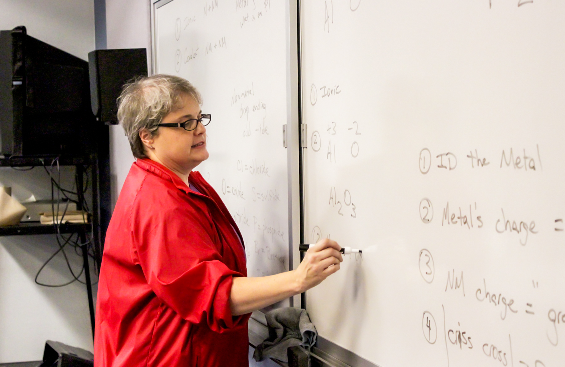 A teacher at a whiteboard