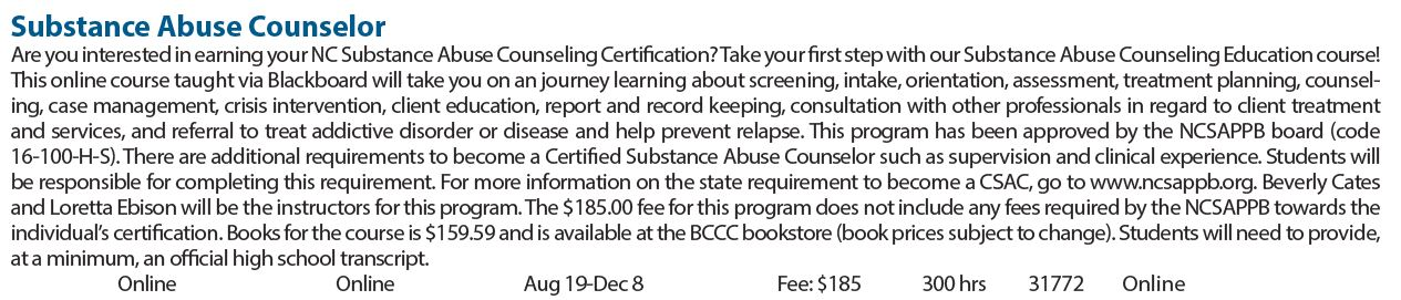 Substance Abuse Education Preparation Beaufort County Community